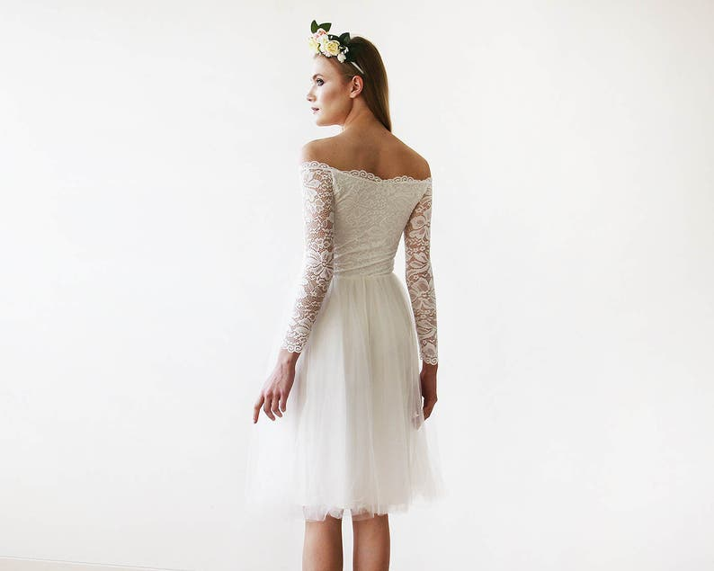 af27a57f36e Off-The-Shoulder Ivory Lace and Tulle Wedding Midi Dress 1156