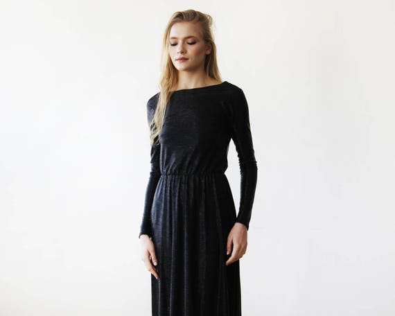 Metallic Black Backless Maxi Dress With Long Sleeves 1097 Etsy