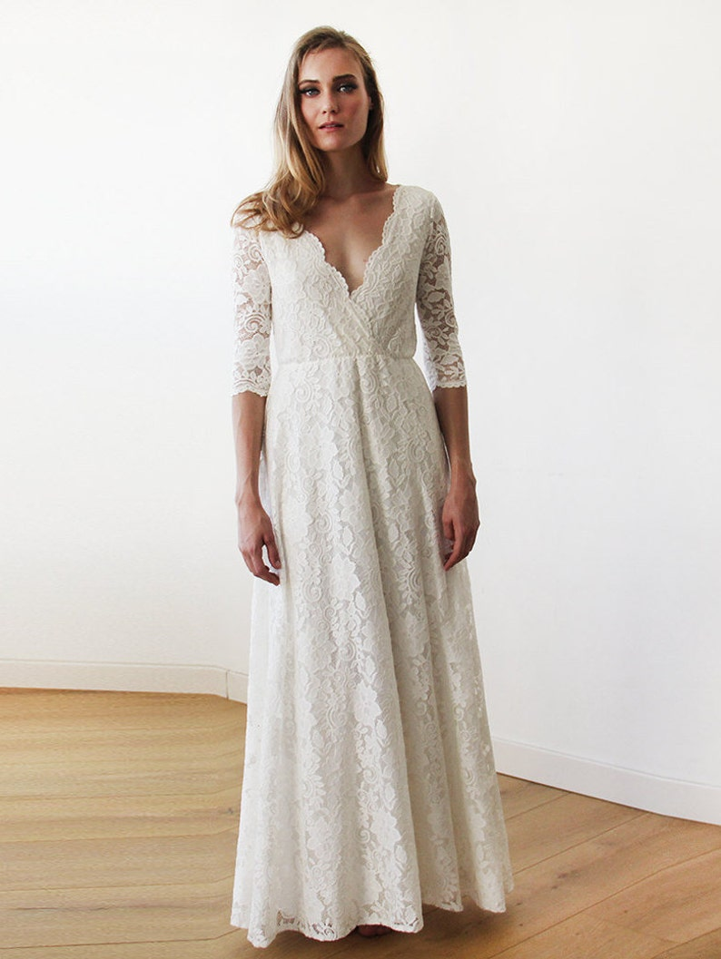 3f3bff11dfd Three Quarters Sleeves Lace Wedding Dress Ivory Lace Wedding