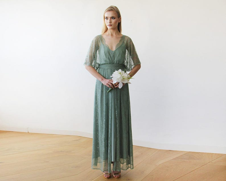 69a585276b8 Sage green sheer lace maxi dress Maxi lace gown with bat