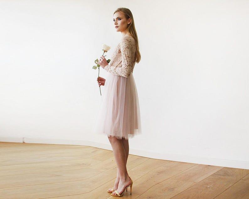 24b34c5fef Blush Pink Tulle & Lace Midi Long Sleeves Dress Midi blush | Etsy