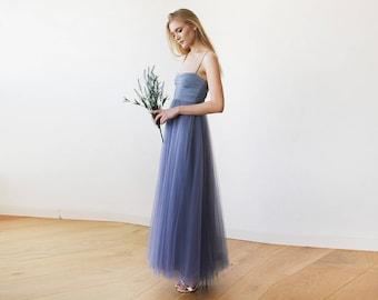 Dusty Blue Maxi Ballerina Tulle Dress 1061