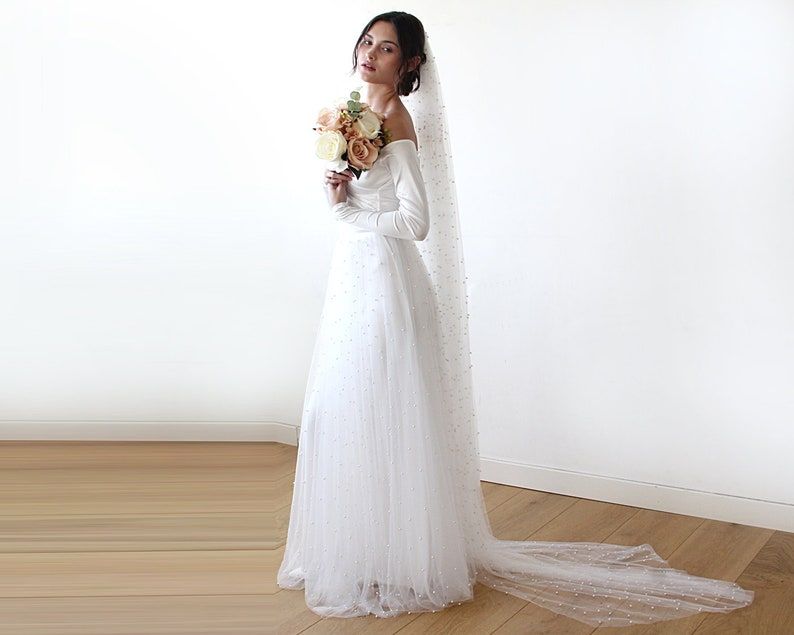 Off Shoulder Wedding Dress Ivory Pearls Tulle Maxi Tulle Etsy