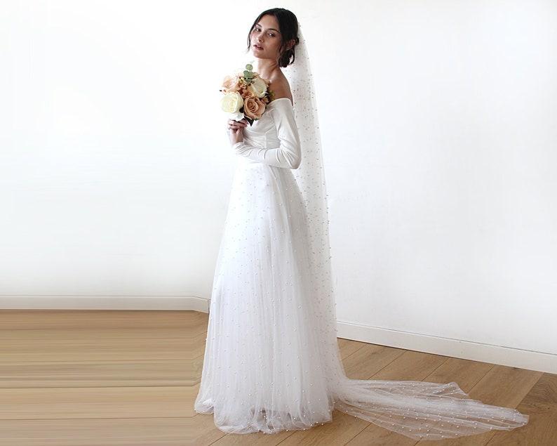 f384da24e2fd Off-Shoulder Wedding Dress Ivory pearls tulle Maxi Tulle