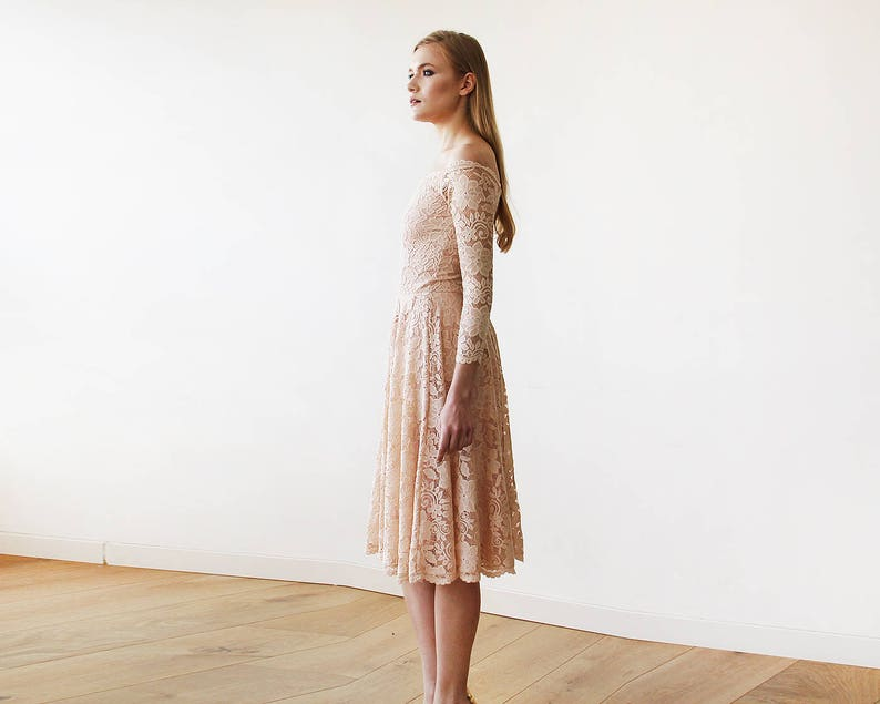 f7565eeee616 Pink Off-The-Shoulder Floral Lace Long Sleeve Midi Dress 1149