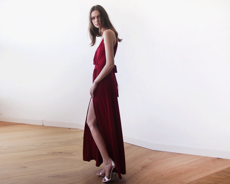 5bd1fa58606 Burgundy straps wrap dress Wine Red bridesmaids dress with a