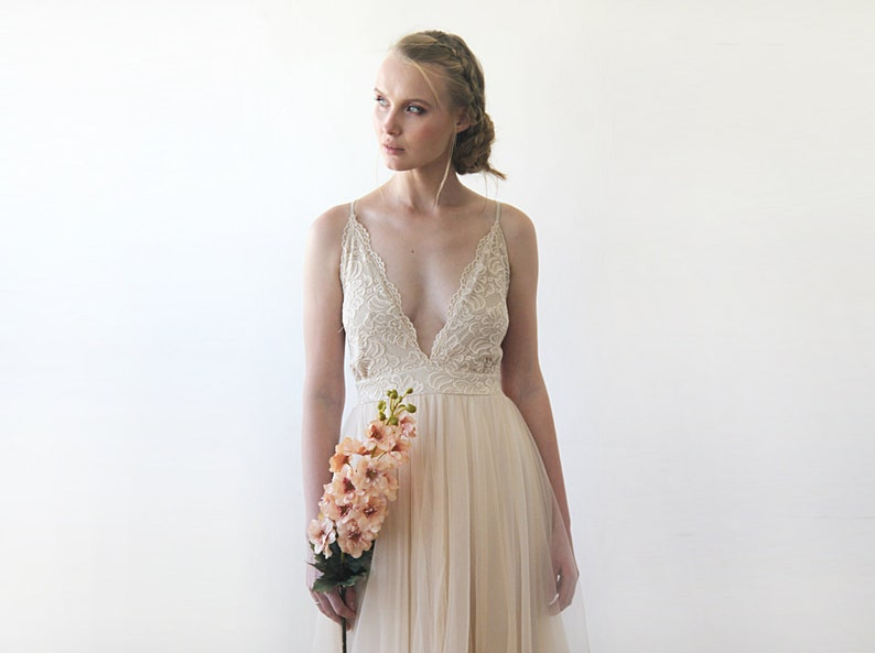 Champagne Wedding Dress Beach Wedding Dress Thin Straps Lace Etsy