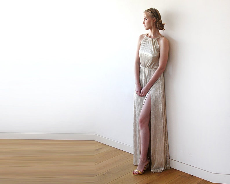 7ca0511ef Pleated Halter Neck Sleeveless Maxi Dress Metallic Gold | Etsy