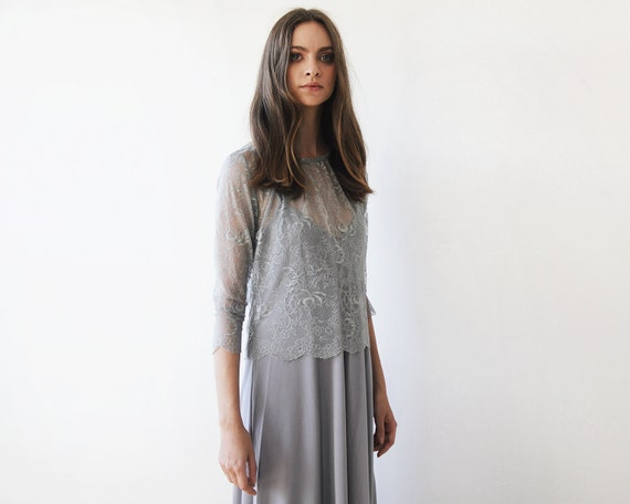317bc6359ddaaf Grey lace long sleeves top Lace top Sheer grey lace blouse