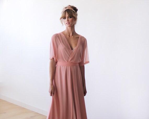 Pfirsich-rosa schiere chiffon Maxi Kleid mit
