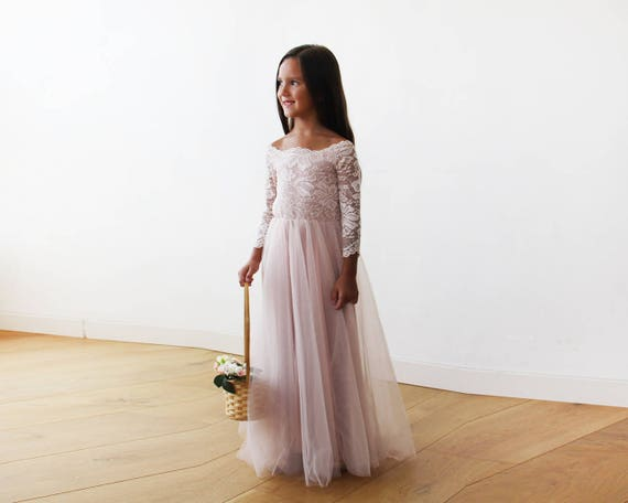 7ac285e00 Flower Girl Pink Dress Off-The-Shoulder Lace and Tulle Pink   Etsy