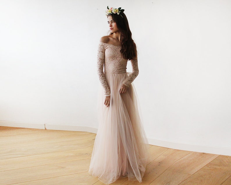 2de12457f026 Bridesmaids Blush Off-The-Shoulder Lace and Tulle gown 1134   Etsy