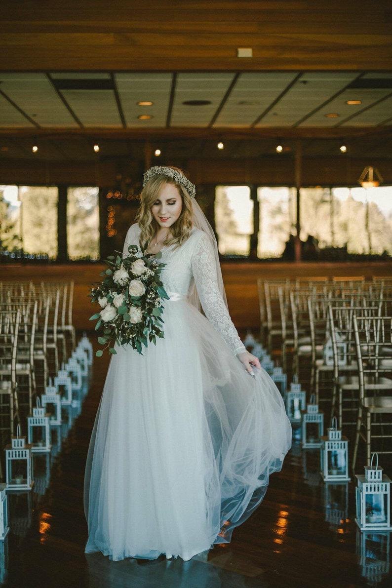 Ivory Tulle & Lace Maxi Dress 1125 image 1