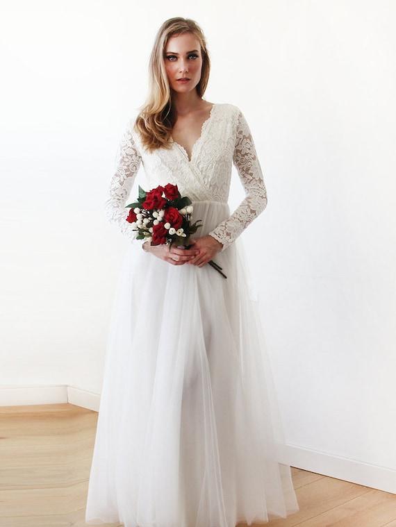 Lange Ärmel Engagement Kleid erröten Tüll und Spitze Tüll und