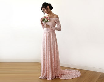 Pink Wedding Dress, Off-the-shoulder Wedding Dress, Floral Lace Wedding Dress, Long Sleeve Wedding Dress, Train Wedding Dress 1148