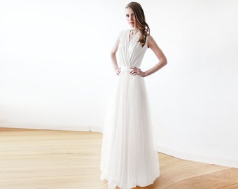 Ivory minimalist tulle wedding gown , Ivory bridal maxi tulle dress 1076