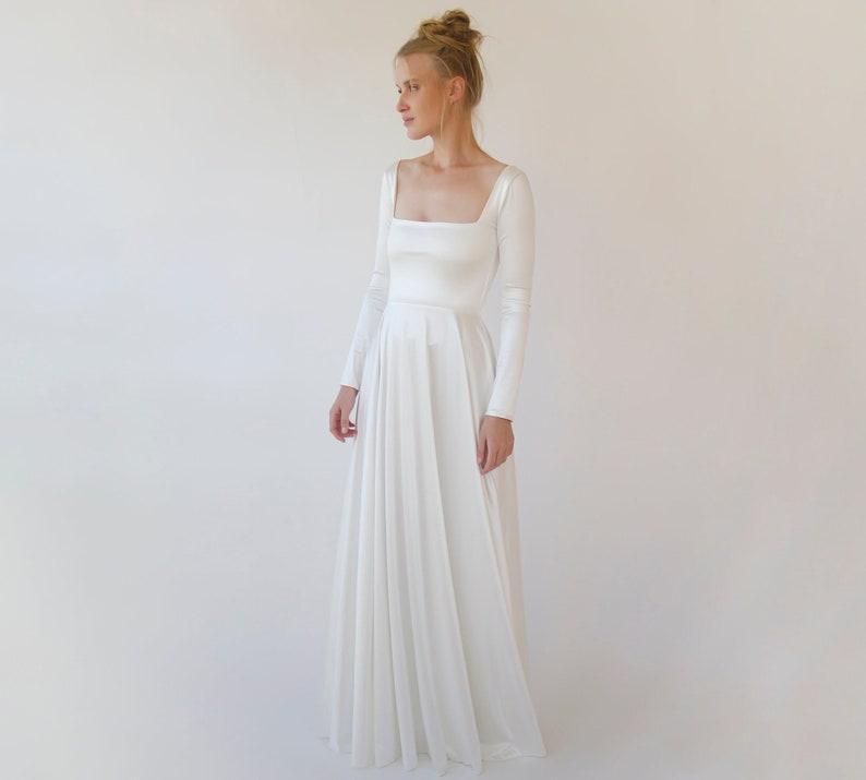 Silky Ivory Square Neckline Minimalist Satin Wedding  Dress image 1