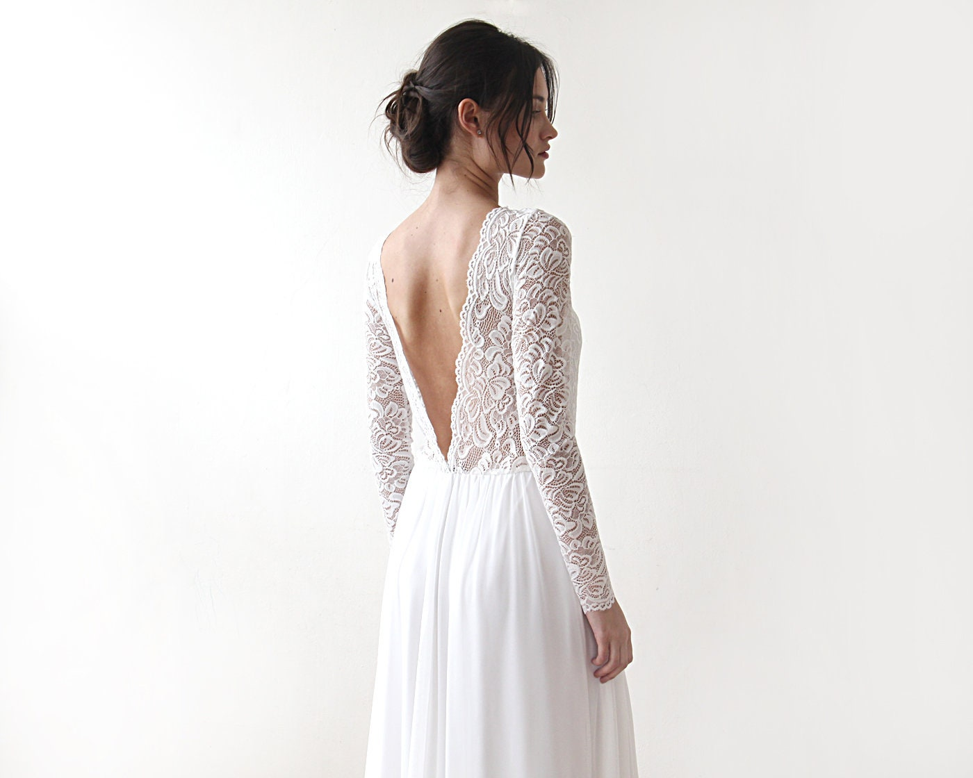 Ivory Crepe Open Back Wedding Dress And Handmade: Ivory Boho Open Back Dress Deep V Shape Bridal Gown Lace