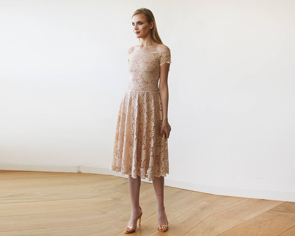 Blush Pink Off-The-Shoulder Short Sleeves Lace Midi Dress