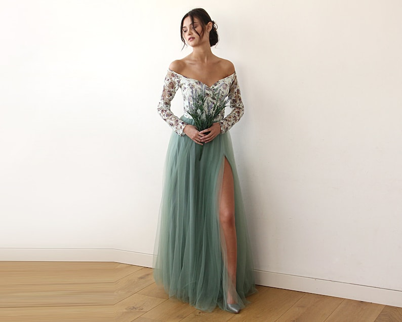 f0606534b04e Off-Shoulder Floral And Green Tulle Dress With A Slit 1176