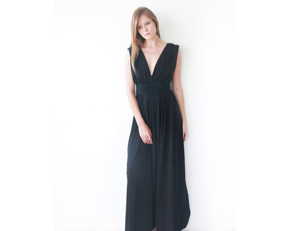 51c98ba5cbf Black maxi floor length dress Bridesmaids black long dress