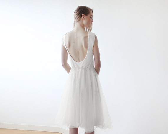 Backless Ivory tulle midi dress, Wedding Ivory sleeveless open back tulle gown 1087