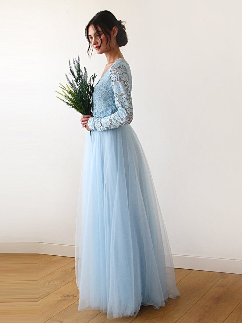 Long Sleeves Maxi Dress Light Blue tulle and lace Tulle and lace Light Blue dress 1125