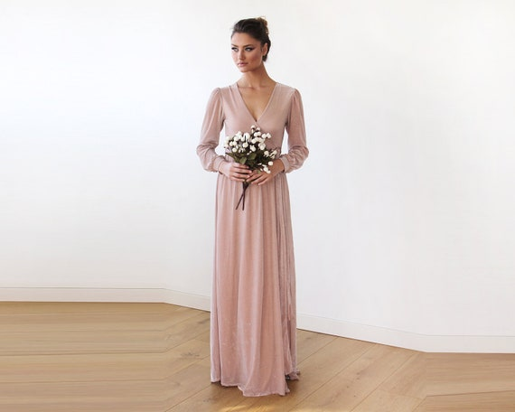 Boho Dress Chiffon Crossover Maxi With Belt Pink Chiffon Maxi   Etsy