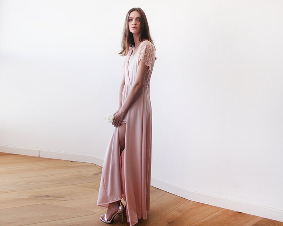 25cbe8a7138 Blush pink wrap dress with lace sleeves Maxi pink gown with