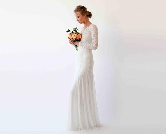 long sleeve wedding dress, Wrap Long sleeves lace wedding dress , Mermaid wedding dress , Bohemian wedding dress 1239
