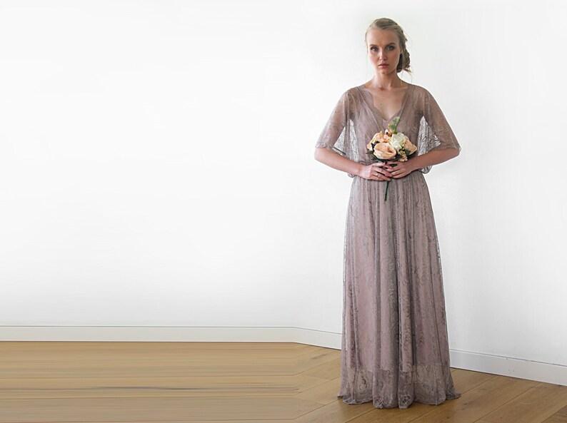 7013b369cd6 Taupe sheer lace maxi dress Bridesmaids lace maxi dress 2