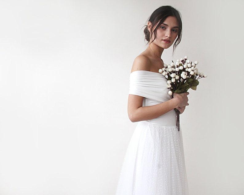 b6d51fef82d Dots tulle Maxi Dress Off the shoulder Wedding Dress Tulle