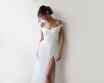 Wrap style wedding dress, Off-The-Shoulder Thin Straps, Dots tulle wedding gown, Tulle skirt with Slit, Sexy Ivory Dress , 1194
