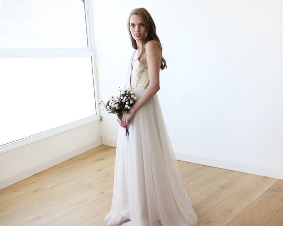 and bridal 1094 sequins sequins Gold tulle gown Tulle gown wedding fHXxBaBqnS