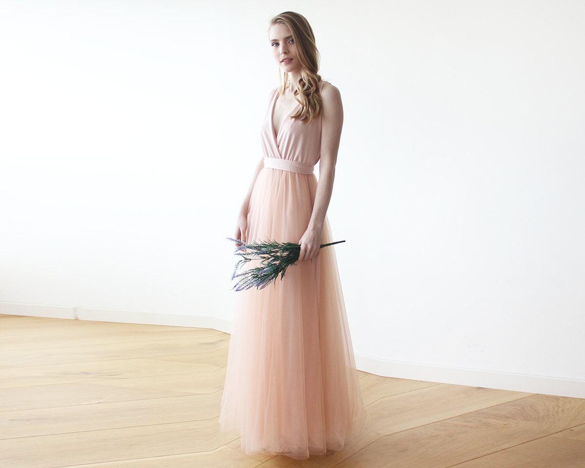 72a3d7d65d Blush Pink tulle Dress Wrap Maxi DressBlush Wedding Dress | Etsy