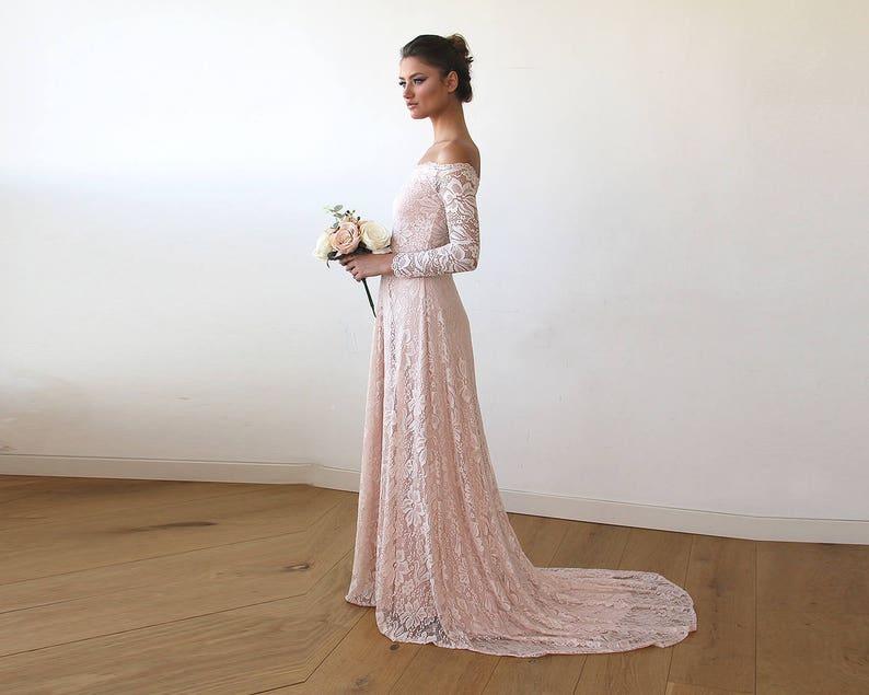 Favoriete Pink Wedding Dress Off-The-Shoulder Floral Lace Long Sleeve | Etsy @NQ19