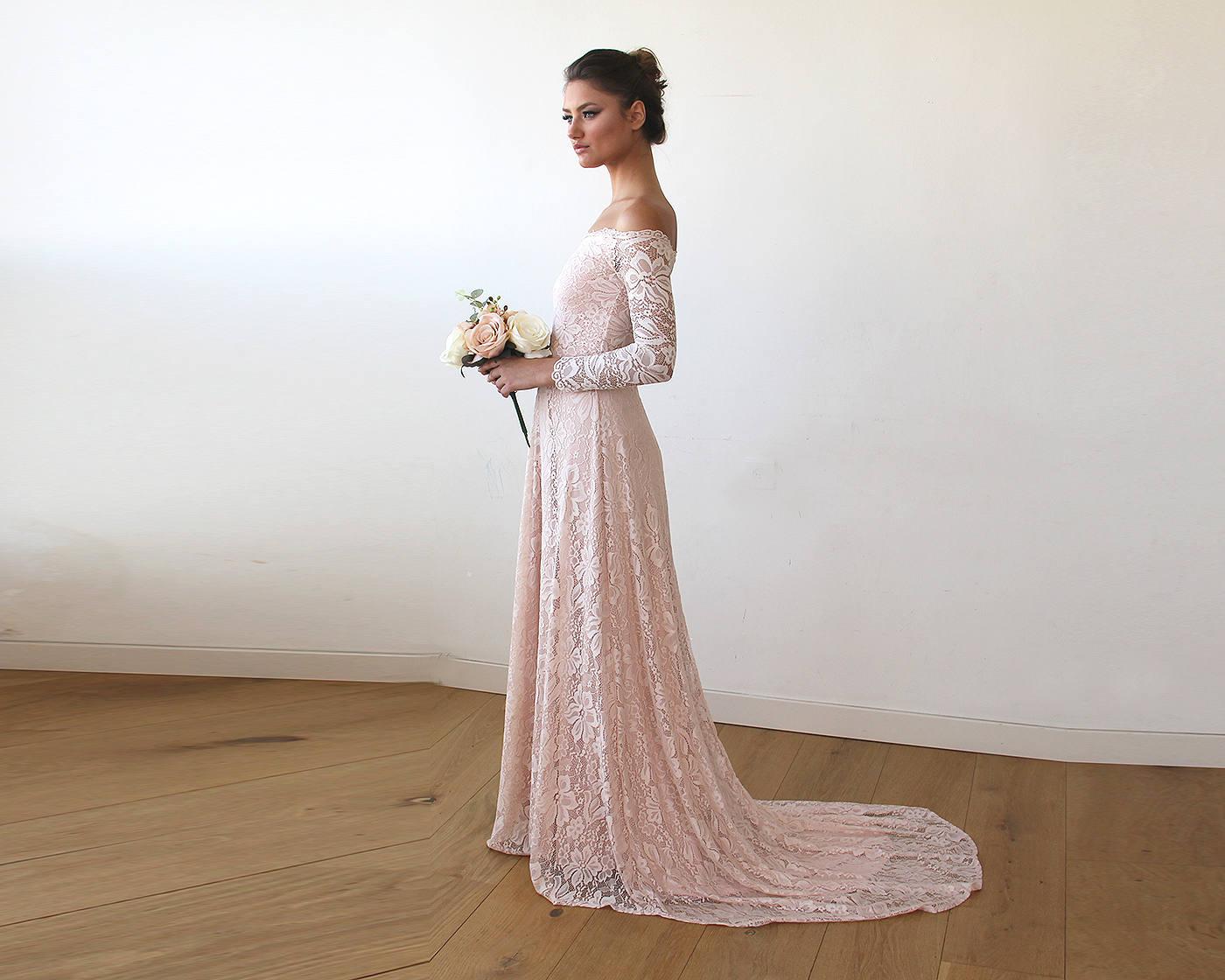 Pink Wedding Dress Off The Shoulder Floral Lace Long Sleeve Etsy