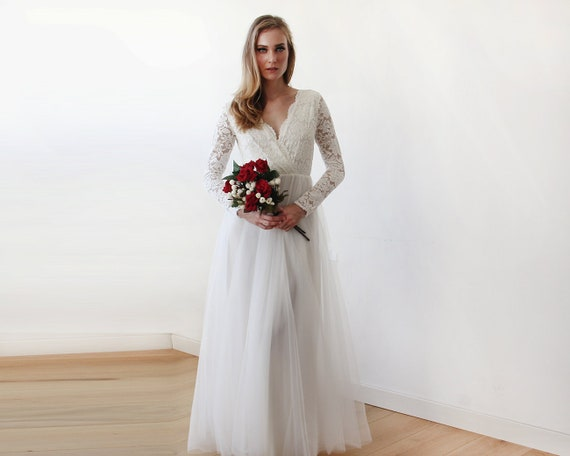 Ivory Lace Long Sleeves Wedding Dress Tulle And Lace Bridal Gown Long Sleeve Wedding Dress Tulle Wedding Dress Empire 1125