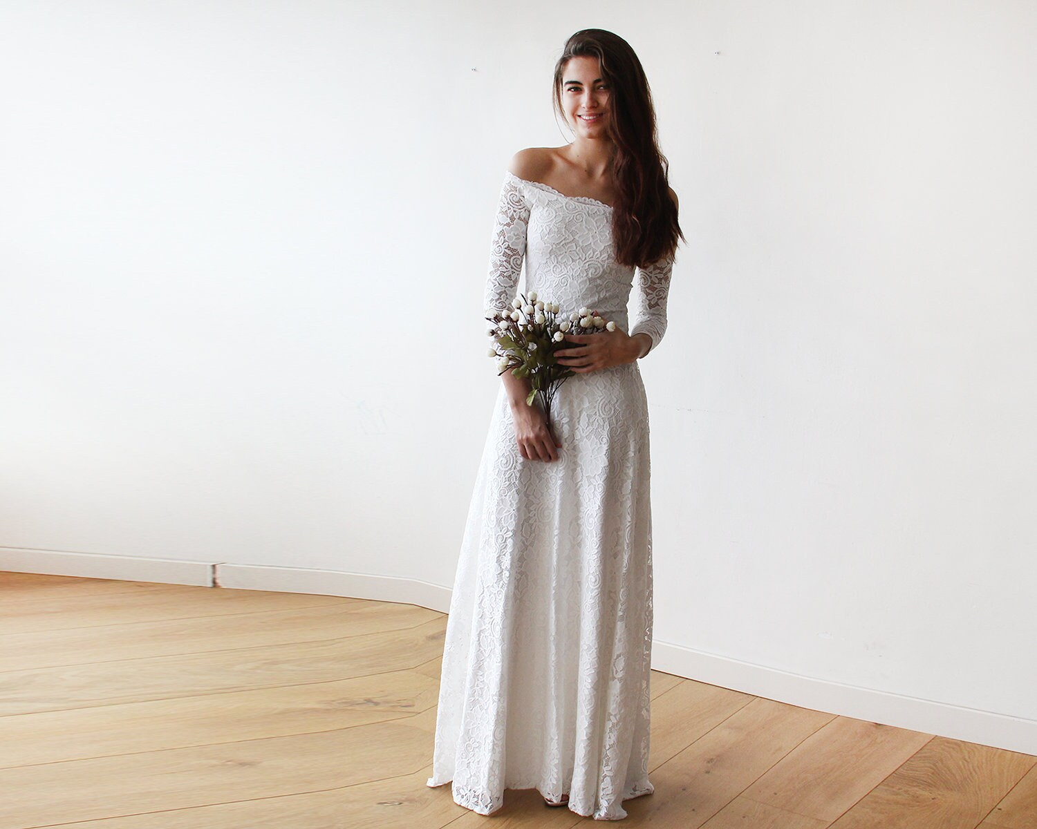 Ivory Wedding Gown Bridal Wedding Gown Off Shoulder Maxi Etsy