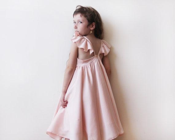 Sweetheart Champagne girls dress Champagne flower girl twirl dress 5005