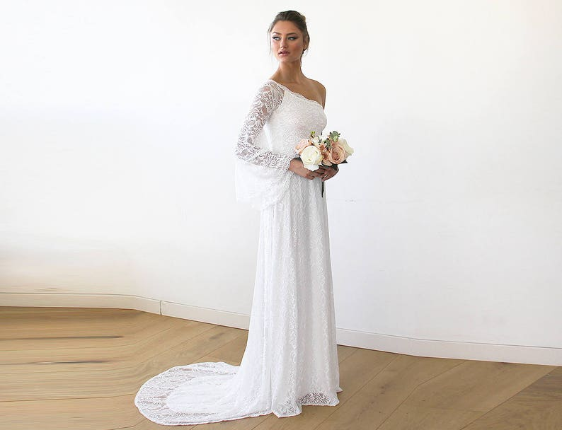 1608b17c517 One Shoulder bell sleeve Floral Lace Gown With Long Train 1166 | Etsy