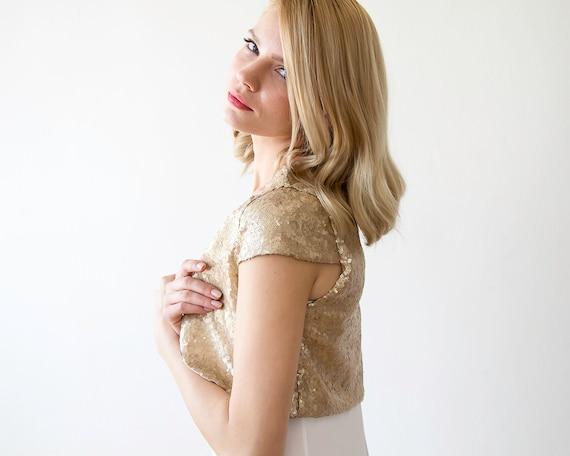 Sequin sleeves bolero shrug 2009 open bridal Short gold sequin r1TwRrxCq