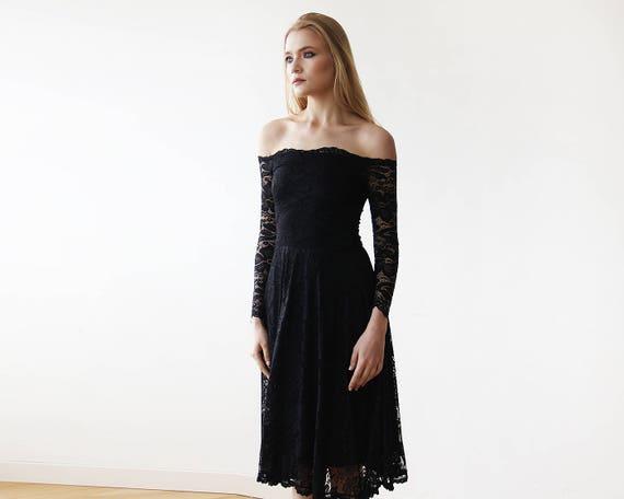 ace74d2ccf74 Black Off-The-Shoulder Floral Lace Long Sleeve Midi Dress 1149