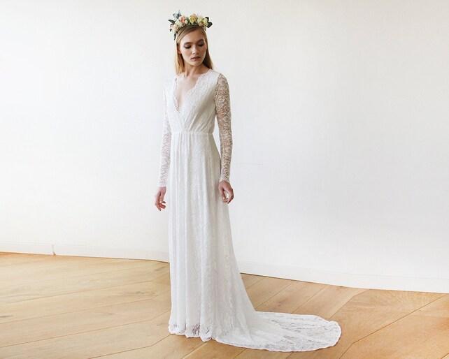 Ivory Train Wedding Dress Ivory Wedding Gown Wrap Floral   Etsy