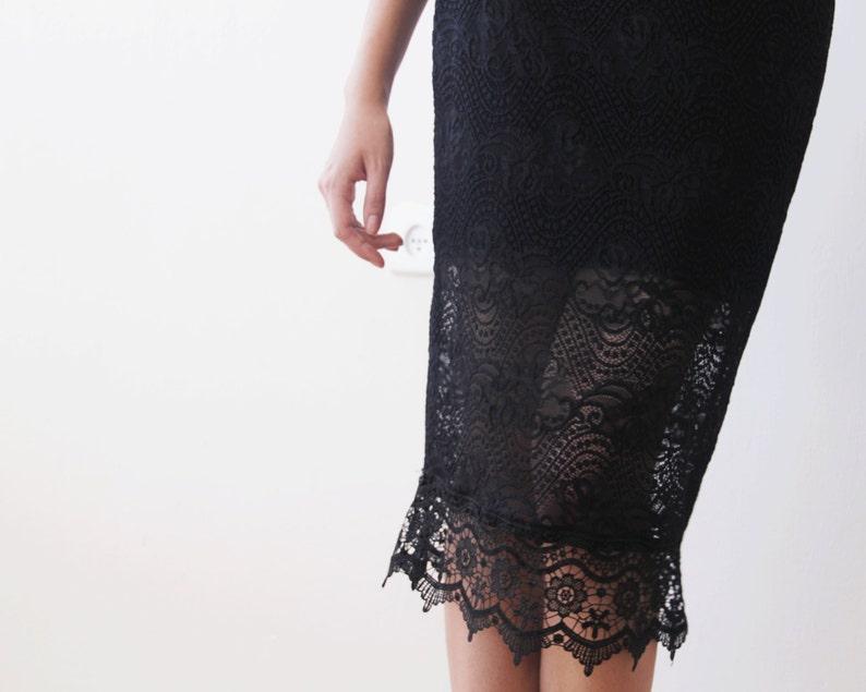Black lace knee length skirt Black pencil skirt Lace midi black skirt 3031