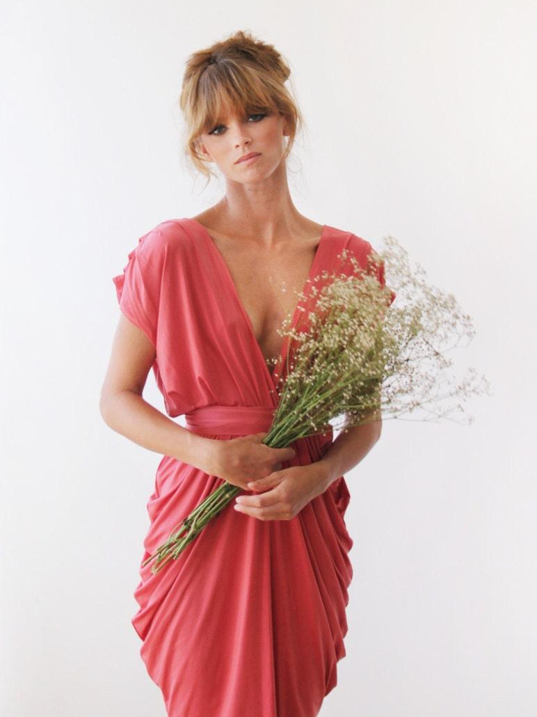 Coral Bridesmaids Dress Knee Length Bridesmaids Gown 1007 ...
