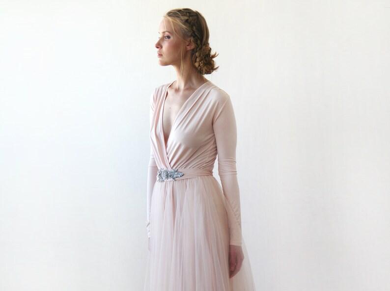 6d270b7be21 Blush Pink Maxi Dress Tulle Maxi Dress Wrap Maxi Dress