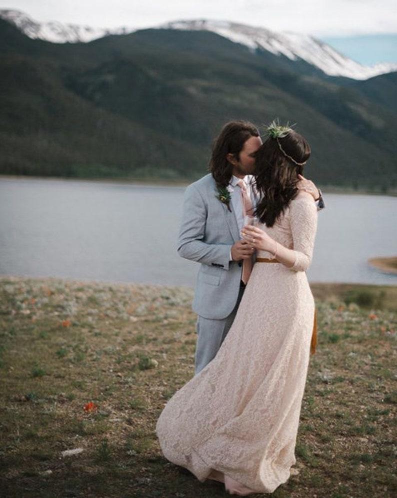 Off-The-Shoulder maxi lace long sleeves dress  1119 Light blue wedding dress