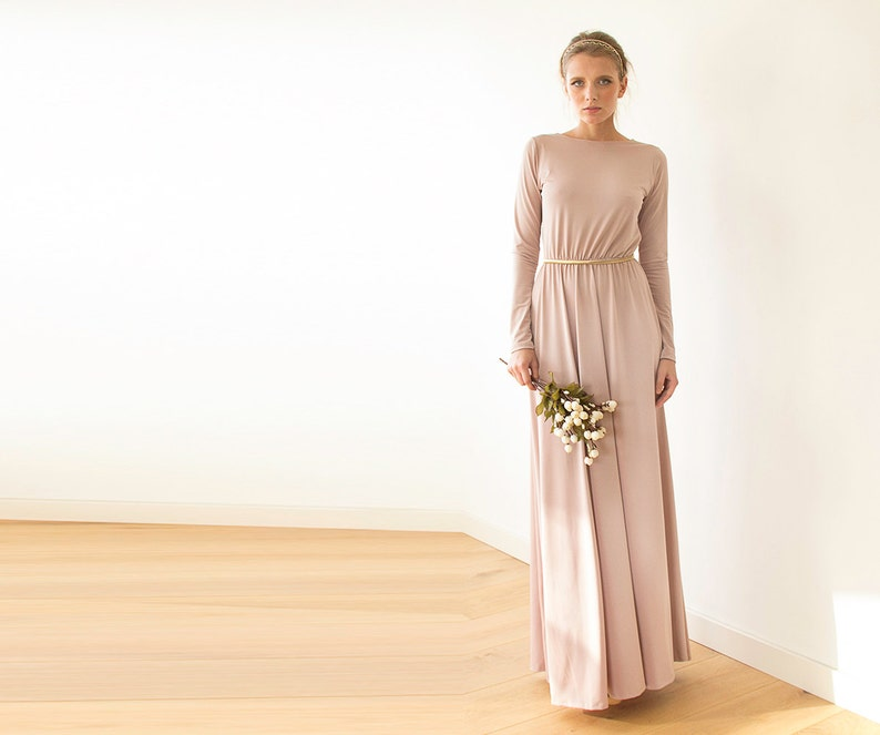 81326061661 Blush pink backless maxi dress Pink gown with long sleeves