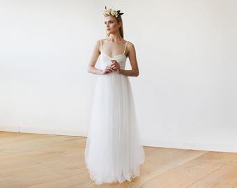 Ivory Wedding Dress tulle ballerina, Sweetheart neckline maxi tulle wedding dress, Romantic ivory tulle gown 1061